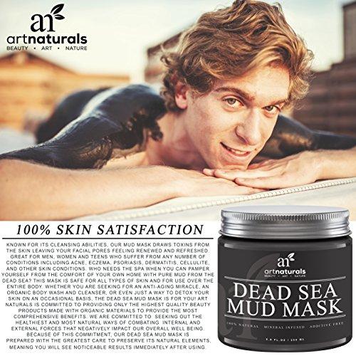 Art Naturals® Totes Meer Salz Schlamm Maske 250 ml, 100% Naturreine Tiefenreinigung für die Haut | gegen Akne | Hilft Poren & Falten zu Reduzieren | Ultimative Wellness Qualität | Angereichert mit Mineralien | Frei von chemischen Zusätzen -
