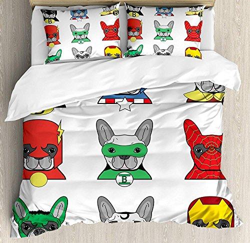 Superhelden-Bettwäsche-Set Bulldogge Superhelden lustige Cartoon-Welpen in Verkleidung Hundekostüm mit Masken-Motiv Bedruckt 3-teiliges Bettwäsche-Set mit Kissenbezügen Queen/Voll Mehrfarbig