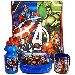 Marvel Avengers - Set Merenda Scuola Gita 4 pz Sacca-Zainetto, Borraccia, Porta-Merenda e Tazza - Bambino - Prodotto originale