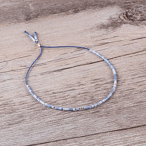 KELITCH Bohemian Armband Rocailles Perlen Handmade Mehrfarbig Zart Schnur Freundschaftsarmbänder - Blau
