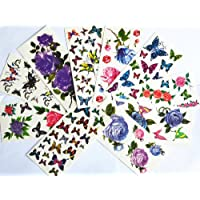 10pcs/package hot selling temporary tattoo stickers various designs including purple peony/blue and red roses/colorful flowers and butterflies/red lips/etc. by Combine Temporary tattoos