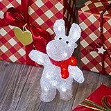 Reno con bufanda 30 cm, 24 LED luz fría, a pilas, reno luminoso, decoración de Navidad, luces navideñas, figura luminosa