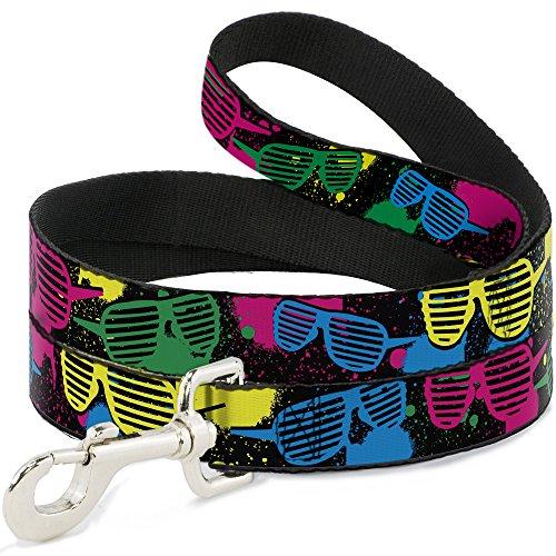 Buckle Down 80er Jahre-Sonnenbrille, Schwarz/Neon-, 4x 1/2Zoll