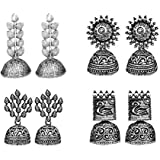 JewelMaze Traditional Jhumki Earrings Combo For Women and Girls - Set of 4