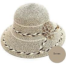 Vinteen Sombrero Verano Versión Coreana Sombrero de Paja Femenino Pequeño  Visor Fresco Protector Solar de Viaje 986a393d09a