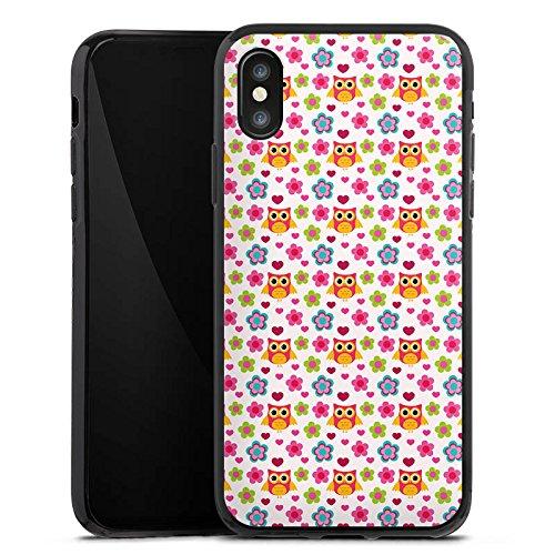 Apple iPhone X Silikon Hülle Case Schutzhülle Eulen Bunt Muster Silikon Case schwarz