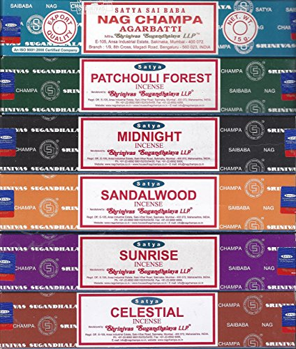 Incense Gift Set ~ Nag Champa, Sunrise, Sandalwood, Midnight, Patchouli, Celestial 15 grams by Nag Champa