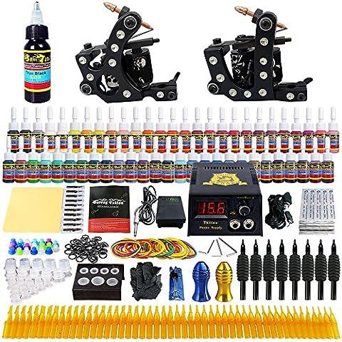 Solong Tattoo® Kit de Tatouage Complète 2 Machine à Tatouer Professionnelle 54 Encres Power Supply Aiguille de Tatouage Tattoo Kit Set TK256