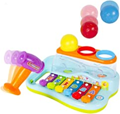 BAYBEE Funbee Musical Toy Xylophone Piano Pounding Bench with Multi-Color Balls and Hammer