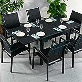 Chloe Tisch und 6 Georgia Stühle - SCHWARZ | ausziehbarer Esstisch mit passenden Stühlen