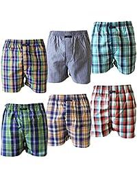 6 er Pack CITYLIFE Herren Webboxer Boxershorts orange blau grün weiß