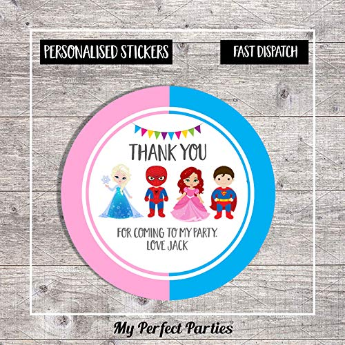 Personalised Princess and Superhero Birthday Party Stickers Thank You Seals - Pack of 35 | Children