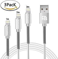 iPhone Ladekabel,Lightning Kabel 3 Pack 1M+2M+3M mit Federschutz USB Ladekabel für iPhone X/8 Plus/8/7 Plus/7/6S/6SPlus/6/5S/5C/5/SE iPad Pro/Air/Mini,Weiß