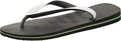 Havaianas Brasil Mix Unisex Adult's Flip Flops, BLACK/WHITE, 33/34 EU