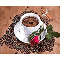 ungerahmt DIY Digital Ölgemälde Malen nach Zahlen Kaffee Rose Flower Wall Decor