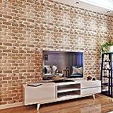 HANMERO papel pintado autoadhesivo moderno imitación ladrillo diseño para paredes decorativas muebles vinilos pegatinas de pared para Cocina/mesa/escritorio/puerta/armario (Marrón)