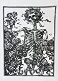 Skeleton and Roses Gothic Design Cotton Torchon