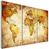 !!! SENSATIONSPREIS !!! Vlies Leinwand 90 x 60 cm Weltkarte Bild - Kunstdrucke – mehrere Farben und Größen im Shop - Fertig zum Aufhängen - !!! 100% MADE IN GERMANY !!! Welt – Landkarte 1034328a