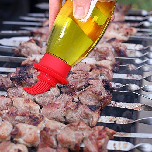 Sayou® Öl Flasche Bürsten / öl flasche mit Bürsten / öl flasche glas / Silikon Bürste Backpinsel für Grillen Kochen Backen (220 ml)