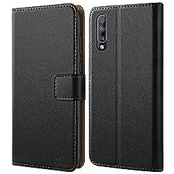 HOOMIL Handyhülle für Samsung Galaxy A70 Hülle, Premium Leder Flip Schutzhülle für Samsung Galaxy A70 Tasche, Schwarz