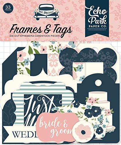 Echo Park Just Married Cardstock Die-Cuts 33/pkg-Frames & Tags (Tags Cardstock Die Cut)