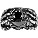 UNISS Men's Punk Rock Style Eagle Claw Black Stone with Skull Head Gothic Ring Stainless Steel Ring