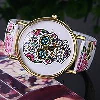Speedmar Lady Flower Wristwatch Stainless Steel Skull Printed Skeleton Watch