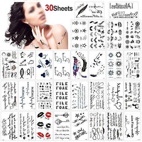 �towierung schwarz Tattoo Körperkunst Kleine Bögen Tattoo Aufkleber Fake Arm Tattoos Sticker für männer Frauen (30 Blätter) ()