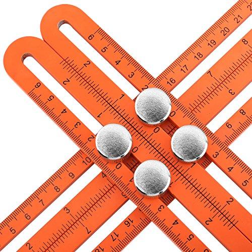 Housolution Messlineal - Multi Winkel Aluminium Angle-Iizer Template Tool, vierseitige Messwerkzeug Winkelsucher Winkelmesser Layout Tool Winkel Herrscher für Handwerker Builders , Orange