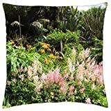 Beautiful astilbes and day lillies in tropical gardens Trebah in Cornwall, England - Throw Pillow Cover Case (18