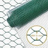 INDUTEC Sechseck-Geflecht/Drahtzaun / Drahtgeflecht - Größe und Farbe wählbar - GRÜN - MW: 25 mm | H: 50 cm | L: 10 m Rolle