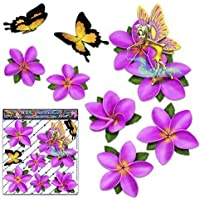 Fata fantasia frangipani plumeria fiore rosa + farfalla auto adesivi auto - ST00062PK_SML - JAS Stickers