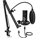 FIFINE Studio Condenser USB Microphone Computer PC Microphone Kit With Adjustable Scissor Arm Stand Shock Mount USB Cable for
