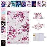 E-Mandala Samsung Galaxy Tab E SM-T560N / T561N Hülle Leder Flip Case Tablet PC Tasche mit Kartenfach Ledertasche Lederhülle - Blumen