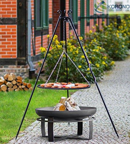 Set - Schwenkgrill 1,80m mit Ø60cm Grillrost und Ø70cm Feuerschale 346