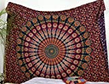 Popular Handicrafts Hippie Mandala Bohemian Psychedelic Intricate Floral Design Indian Bedspread Magical Thinking Tapestry 84x90 Inches,(215x230cms) White Blue by Popular Handicrafts