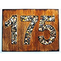 Custom Address Sign | Rustic House Address Plaque | Oak stained wooden plaque and Sea Pebbles numbers | House numbers, House address sign, housewarming gift, cabin, cottage