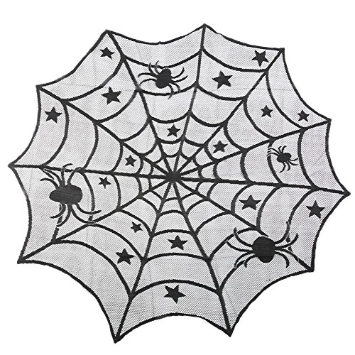 Smartcoco Halloween Schwarz Spitze Rund/Rechteck Tischdecken Spider Skull Party Décor Spooky Mahlzeiten Diameter: 40in/102cm Spider(Diameter: 40in/102cm)