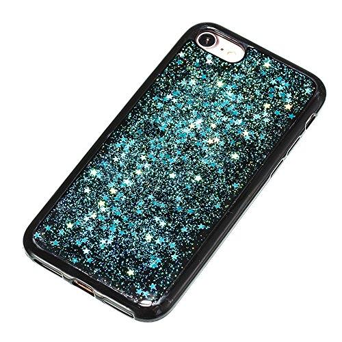 Custodia iphone 7 / iphone 8, iphone 7 / iphone 8 Cover, iphone 7 / iphone 8 Custodia Silicone,Cozy Hut Case Cover per iphone 7 / iphone 8, Shiny Sparkly Bling Bling Glitter Conchiglia Caso Guscio Sot Cielo blu