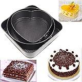 leryjoy (TM) Set de tres Springform sartenes Chocolate Cake Bake Molde de horno redonda forma de corazón cuadrado accesorios de cocina para hornear Herramientas