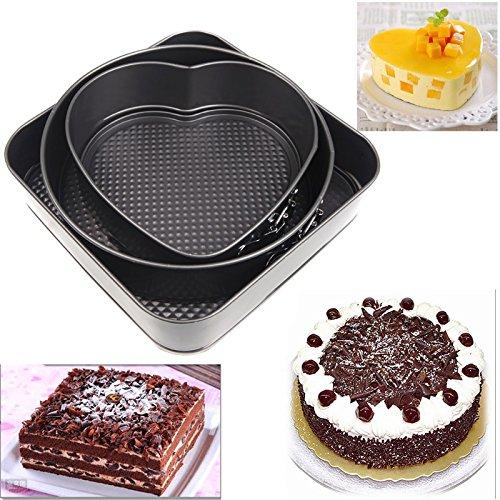 artans (TM) Set von drei Springform Pfannen Schokolade Kuchen Backen Form Bakeware rund Herz Quadratisch Form Küche Zubehör Backen Werkzeuge