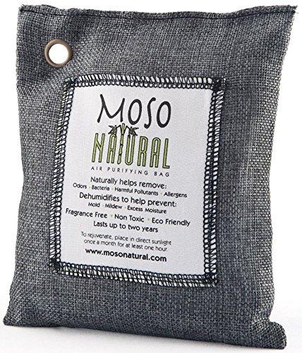 Moso Natural Una Bolsa de purificadora de Aire - Eliminador de Malos olores para los Coches, armarios, baños y áreas de Mascotas. 200-G Negro