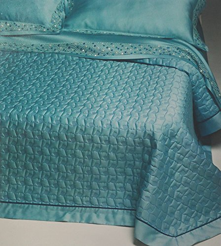 Double bed linen set Trussardi turquoise WEB ACQUA 270x290cm pure cotton satin