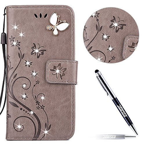 iPhone 5 Custodia in Pelle, iPhone 5S Cover Portafoglio, JAWSEU Goffratura Arts Farfalla Diamante Disegno [Shock-Absorption] Libro Folio PU Leather Wallet Case Cover per iPhone SE Protettiva Bumper Co Farfalla Diamante, Grigio