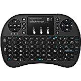 Rii Mini i8+ Bluetooth Schwarz mit Hintergrundbeleuchtung - Mini Wireless Tastatur mit Multitouch Touchpad perfekt für KODI, XBMC, Smart TV, Raspberry Pi, Mini PC, HTPC, Mac, Linux, Android, Windows 7, 8, 10