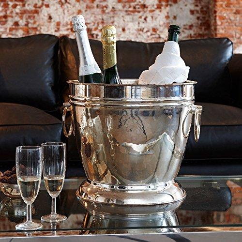 LOBERON Sektkühler Blake, Flaschenkühler, Weinkühler, Messing mit Silber-Finish, silber