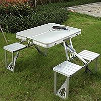 Bazaar Tavolo in alluminio esterno pieghevole set da scrivania pieghevole 4 sedie per caccia pesca picnic e bbq