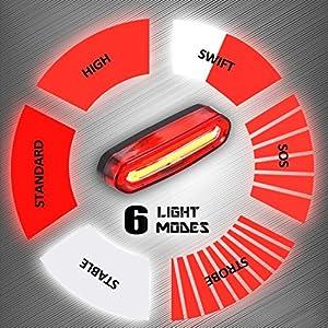 Eximtrade USB Recargable Bicicleta 6 Modos Luz Cola Flash LED Lámpara Luz Alerta Impermeable (Rojo y Blanco)