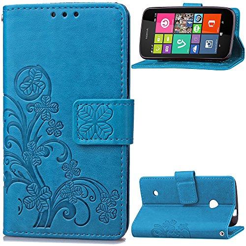 530 Nokia Handy Lumia Case Blau (Hülle für Nokia Lumia 530, Owbb Prägung Klee Blumen Muster Handyhülle PU Ledertasche Flip Cover Wallet Case mit Stand Function Innenschlitzen Design Blau(Ein freier Stylus als Geschenk))