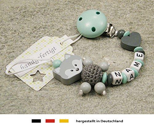 Baby SCHNULLERKETTE mit NAMEN | Schnullerhalter mit Wunschnamen - Mädchen & Jungen Motiv Fuchs und Herz in mint, grau